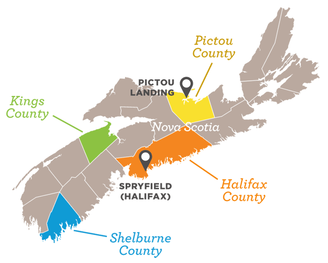 Map indicating the four Nova Scotia community case studies and host organizations involved in the research project